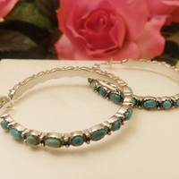 Turquoise Silver Tone Large Hoops Fashion Earrings