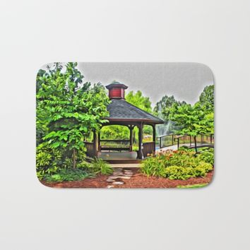 City Park - Photo converted to painting Bath Mat by Scott Hervieux
