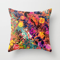 Floral and Birds II Throw Pillow by burcukorkmazyurek