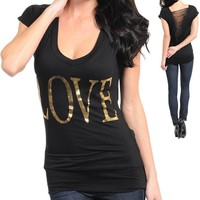 NEW S M L Love Black Slashed Peep Open Back Tee Top Shirt Gold Foil V Neck