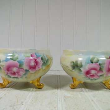 Antique Hand Painted Porcelain Bowls Set of 2 with Gold Feet Made in Czechoslovakia - Matching Vintage Interior Decor Bowls with Pink Roses