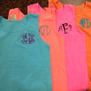 Monogrammed Comfort Color Tank Top - Great for graduation, Beach Cover Ups, spring break, Wedding parties, Greeks, and women of all ages