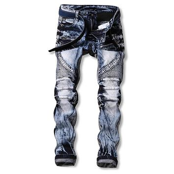 Men Two-Tone Jeans Ripped Biker Hole Denim robin patch Harem Straight punk rock jeans for men Pants