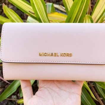 Michael Kors Jet Set Travel Large Trifold Wallet Blossom Pink Fawn