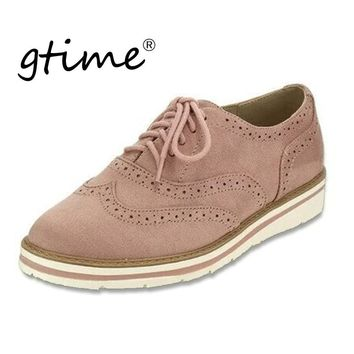 Gtime Women Flats Hollow Platform Shoes Plus Size Oxfords British Style Ladies Brogue Shoe For Female Lace Up Footwear #ZSTM13