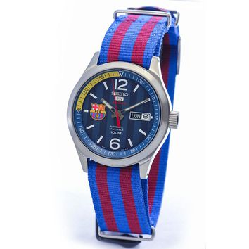 Seiko SRP303 Men's 5 Sports Barcelona Blue Dial Red & Blue Nylon Strap Watch