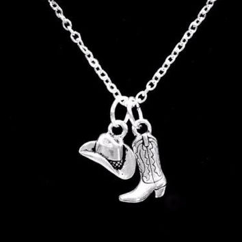 Cowboy Boot Hat Cowgirl Country Western Ranch Southern Girl Charm Gift Necklace