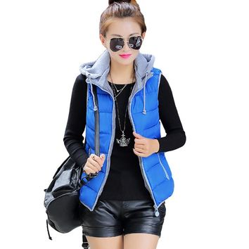 New Women Cotton Jacket Sleeveless Vest Women Autumn And Winter Fashion Casual Coats Female Hooded Cotton-Padded Vest YP0030