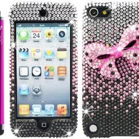 "The Friendly Swede (TM) Bling Rhinestone Case for iPod Touch 5 + 4.5"" Hot Pink Stylus + Tool + Retail Packaging (Hot Pink Bow)"