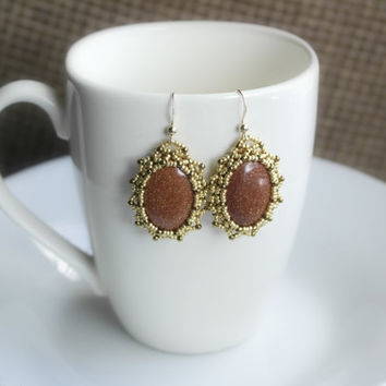 Stone Earrings Bronze Gold Brown Oval 14K Gold Filled Earrings, Beadwork Earrings, Nature Earrings, Natural Stone Earrings