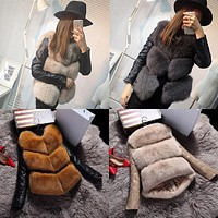 Naiveroo 2017 Fashion Autumn Winter Coat Thick Warm Women Faux Fox Fur Vest High-Grade Jacket Colete Feminino Plus Size 3XL