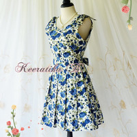 Love Letter - Spring Summer Sundress Blue Roses Floral Dress Bridesmaid Dress Party Dress Tea Dress Vintage Inspired Dress Custom Made