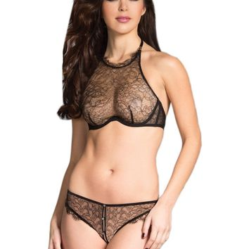 Be Wicked  BW1642 High neckline Bra Set includes gusset lace brief