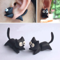 Flying Kitty 3D Fimo Clay Ear Stud (Single)