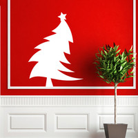 Housewares Abstract  Christmas And New Year Tree Swinging Wall Vinyl Decal Sticker Kids Nursery Baby Room Decor V346