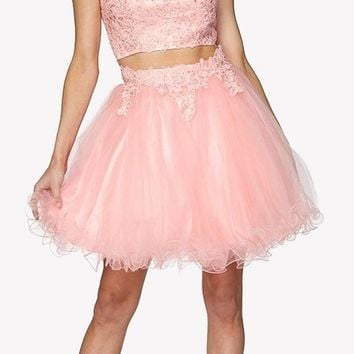 Two-Piece Appliqued Homecoming Short Dress Cold Shoulder Blush