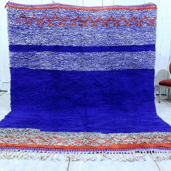 Large Blue Wool rug 8.2ft x 10.4ft