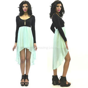 Pretty Mint Long Sleeve High Low Dress Sheer Flowy Skirt Ballet Dance Fashion