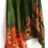 Hand painted silk scarf- The Red Peacock Feathers, Moss Green Silk Scarf, Feather scarf painted, Oversized scarf, Birds scarf, Gift for her