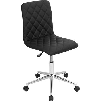 Tesla Office Chair Quilted Black Leatherette Chrome Base