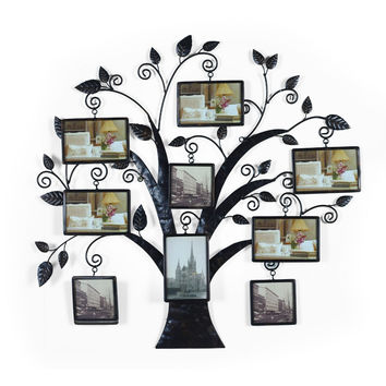 Brown Black Decorative 9 Opening Collage Bronze Bronze Iron Metal Wall Haning Family Tree Picture Photo Frame