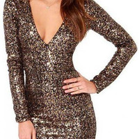 Gold Sequin Embellished Plunge Neck Bodycon Dress