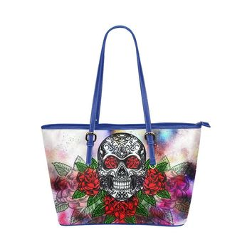 Hip Water Resistant Small Leather Tote Bags Sugar Skull #10 (5 colors)