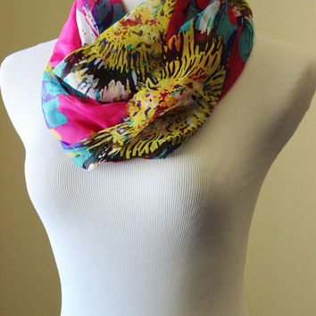 Hot pink chiffon floral scarf, bright sunflower print