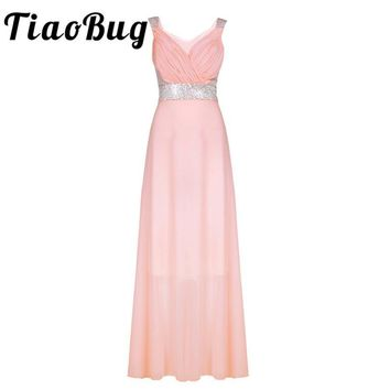 TiaoBug Sexy Pink Summer Elegant V Neck Long Lace Sleeve Fitted dress Women Fashion Slimming Chiffon Maxi Floor Length Dress