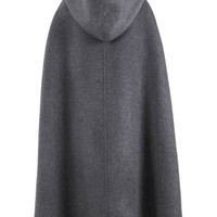 Gray Split Front Hooded Poncho Cape Woolen Coat