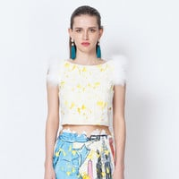 Lace Embroidered Feather Pluff Crop Top