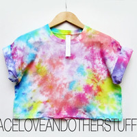 Handmade Retro Festival Multi Colour Tie Dye Crop T-Shirt