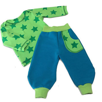 Baby Boy Outfit Stars Shirt and Pants Set Size 3 Top Bottom Farbenmix Jersey European GOTS Organic