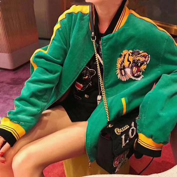 """""""Gucci"""" Women Casual Fashion Letter Multicolor Embroidery Tiger Head Cardigan Long Sleeve Cotton-padded Clothes Corduroy Coat"""