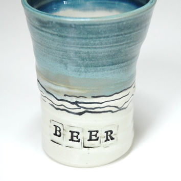 Pottery Beer Stein,Cup for Beer,Blue Clay Stein,Large beer cup,No handle Stein,No handle Mug,Beer Mug,Father's present,Husband's cup,