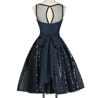 Grace Karin Real Photo Sexy Navy Blue Short Prom Dress Chiffon Sequined Women Robe De Soiree Longue Party Special Occasion Dress