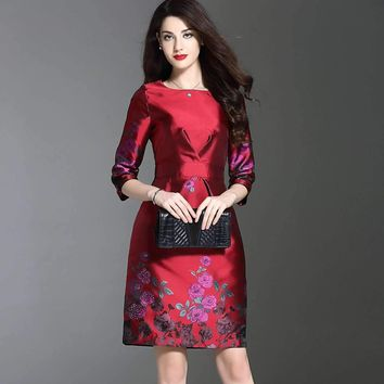 2018 Spring Fashion Embroidered Cheongsam New Pattern Happy Mom Dress Quinquagenarian Dress Temperament Elegant