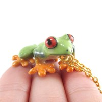 Porcelain Red Eyed Tree Frog Shaped Hand Painted Ceramic Animal Pendant Necklace | Handmade
