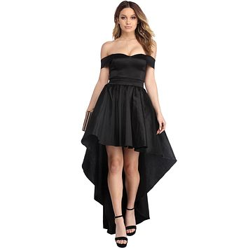 Black Off Shoulder Party Taffeta Gown