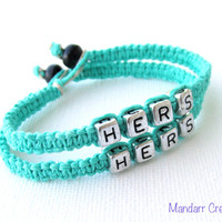 Teal Bracelets for Couples, Hers and Hers, Handmade Hemp Jewelry, LGBT