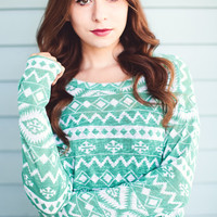 Knit Aztec Print Top: Mint