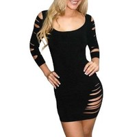 Simplicity Women's Black Strap Cutout Sexy Evening Party Prom Dress