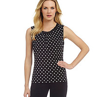 Tahari by ASL Polka-Dot-Print Top - Black/White