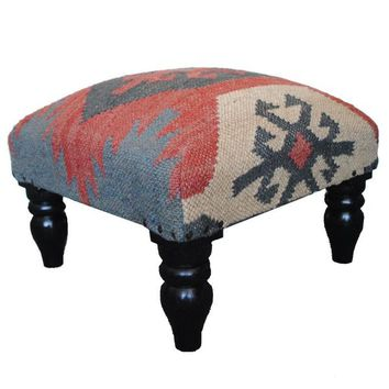 Herat Oriental Indo Kilim Upholstered Foot Stool   Overstock.com Shopping - The Best Deals on Ottomans