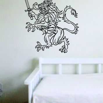 Lion V19 Animals King Crown Sword Wall Decal Sticker Vinyl Art Bedroom Living Room Decor Teen Boy Girl