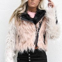 CHASER Your Kiss Color Blocked Faux Fur Moto Jacket
