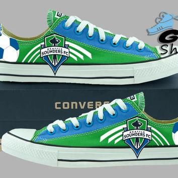 Hand Painted Converse Low Sneakers. Seattle Sounders FC. Soccer. Handpainted shoes. V2