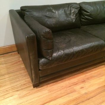 Ultra Lux  Black leather Danish made sofa MCM