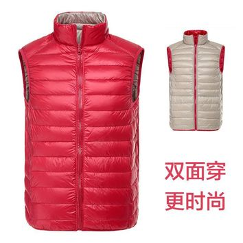 Reversible ultra-thin weight light white duck down jacket men pleated vest waistcoat 2017 new autumn and winter free shipping