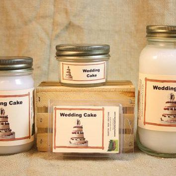Wedding Cake Scented Candle, Wedding Cake Scented Wax Tarts, 26 oz, 12 oz, 4 oz Jar Candles or 3.5 Clam Shell Wax Melts